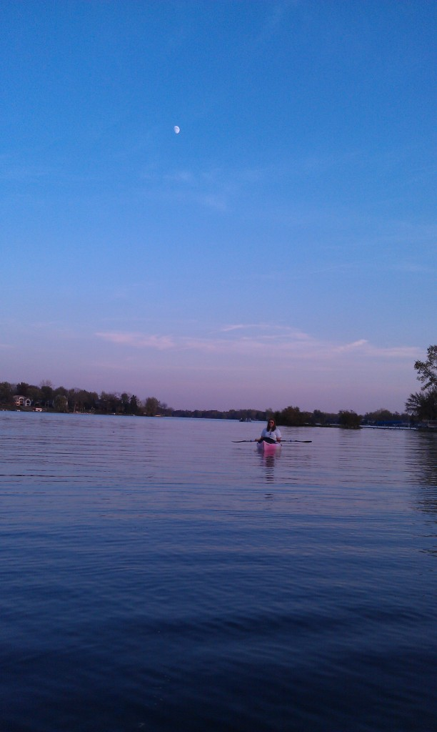 Kayaking Lake Oakland at Sunset