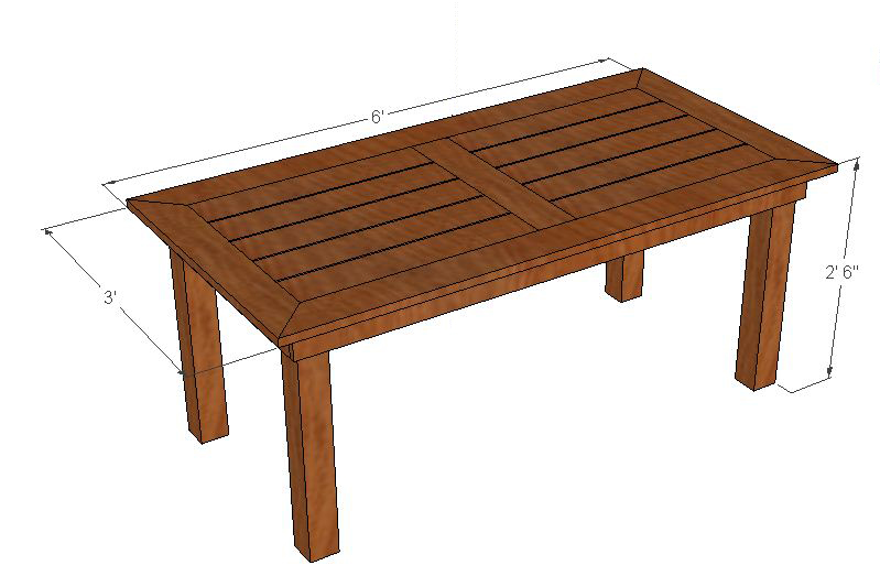 Backyard Table Plans : DIY Cedar Patio Table Plans