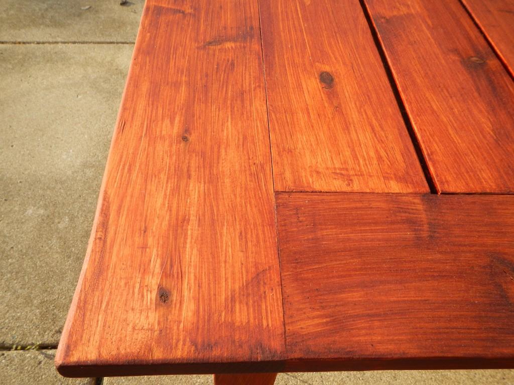 Brush strokes in Sikkens Cetol finish on cedar table